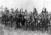 Indian cavalry after their charge, Somme, France
