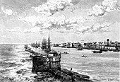 The port of Recife, Brazil, 1895