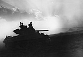 Squadron of tanks on the way to Rammacca, Sicily, July 1943