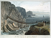 Rope Bridge, Holyhead, Anglesey, Wales, 1829