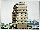 Moveable siege tower with battering ram, 1842