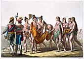 Native American widows approach their chief