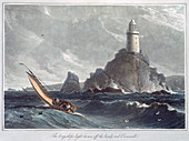The Longships Lighthouse off the Lands End, Cornwall, 1814