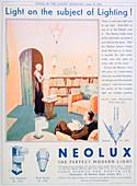 Advert for Neolux light fittings, 1931