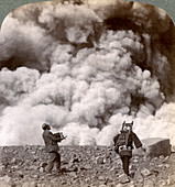 Volcanic explosion in the crater of Mount Asama, Japan, 1904