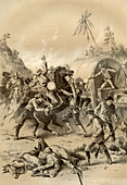 Gold escort attacked by bushrangers, Australia, 1879