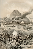 Taking a Maori redoubt, Maori Wars, 1845-1873