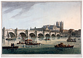 Westminster Bridge, Abbey and Hall, London, 1789