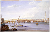 Old and new London Bridges, London, 1831