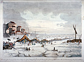 View of a frost fair on the River Thames, London, 1814
