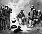 Elisha Kent Kane and his companions in Greenland, c1855