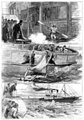 Captain Boyton's voyage across the Channel, 1875