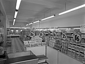 Cash and carry interior, Goldthorpe, South Yorkshire, 1960