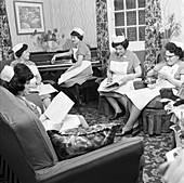 Nurses' rest room, Montague Hospital, Yorkshire, 1968