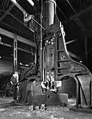 Forge in action at Edgar Allen's steel foundry, 1962