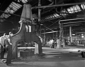 Forge in action at Edgar Allen's steel foundry, 1963