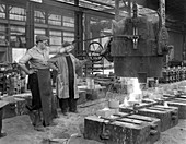 Pouring a small casting at Edgar Allen's Steel foundry, 1963