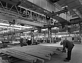 Finished steel in a warehouse, South Yorkshire, 1963