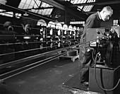 Bandsaws being sharpened at Slack Sellars & Co, 1963