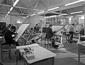 Drawing office at a Sheffield steel foundry, 1964