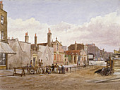 Almshouses, Mile End Road, Stepney, London, 1883