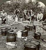 Army cooks preparing a meal, World War I, 1914-1918