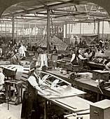 Sheet metal workers at a aeroplane factory, World War I