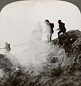 British soldiers advancing under cover of gas and smoke, WWI