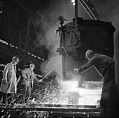 Pouring a two ton casting, 1968