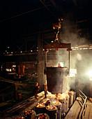 Teeming molten iron
