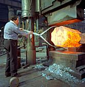 A 1500 ton steel press, Sheffield, South Yorkshire, 1970