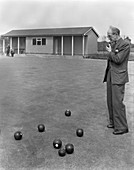 Miners' social club bowling green, West Yorkshire, 1959
