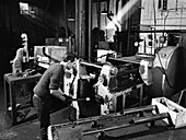 The process of forging heads at Steel Foundry, 1962