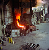A steel pour at Newton Chambers, Chapeltown, 1971