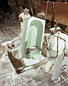 Enamelling a steel bath, Hull, Humberside, 1967