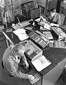 Blocks being made up at a printing company, 1959