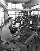 Monotype keyboards in operation at a printing company, 1959