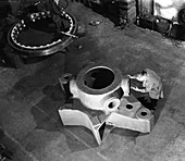 Inspecting a large precision steel casting, 1961