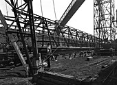 Lifting a conveyor bridge, 1956