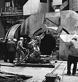 Cleaning a Kaldo furnace, 1964