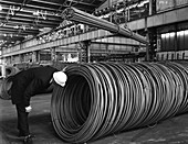 Coils and hexagonal bars at steel company, 1964