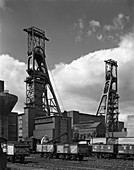 The headgear at Clipstone Colliery, Nottinghamshire, 1963