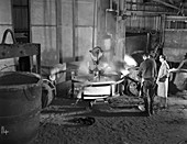 Casting furnace at Wombwell Foundry, South Yorkshire, 1963