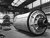 A British Reema ball mill prior to installation, 1963