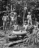 Indians of the Putumayo River with a decapitated head