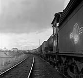 Steam loco hauling coal, Northumberland, 1963