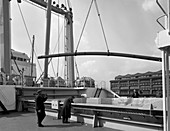 Steel bars being loaded onto the Manchester Renown, 1964
