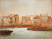 Wharves at Limehouse, London, c1850