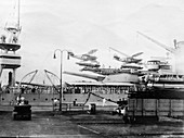 Seaplanes on board a US Navy warship, Balboa, Panama, 1931