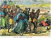 Slave gang crossing the African desert, c1880